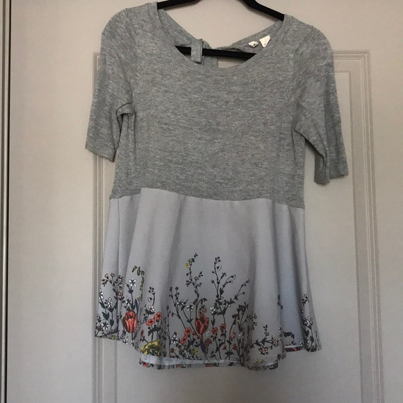 Moth Tops - Knit and faux silk floral print top